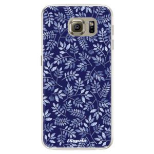 Silikonové pouzdro iSaprio (mléčně zakalené) Blue Leaves 05 na mobil Samsung Galaxy S6 Edge