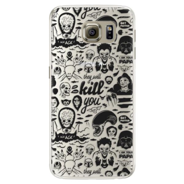 Silikonové pouzdro iSaprio (mléčně zakalené) Komiks 01 black na mobil Samsung Galaxy S6 Edge (Silikonový kryt, obal, pouzdro iSaprio (podkladové pouzdro není čiré, ale lehce mléčně zakalené) Komiks 01 black na mobilní telefon Samsung Galaxy S6 Edge)