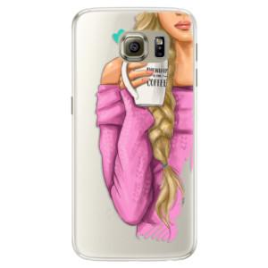 Silikonové pouzdro iSaprio (mléčně zakalené) Blondýnka s kafčem na mobil Samsung Galaxy S6 Edge
