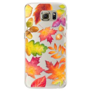 Silikonové pouzdro iSaprio (mléčně zakalené) Podzimní Lístečky na mobil Samsung Galaxy S6 Edge