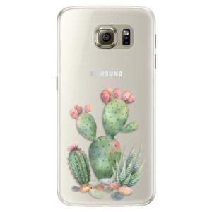 Silikonové pouzdro iSaprio (mléčně zakalené) Kaktusy 01 na mobil Samsung Galaxy S6 Edge