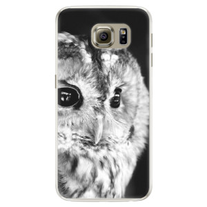 Silikonové pouzdro iSaprio (mléčně zakalené) BW Sova na mobil Samsung Galaxy S6 Edge