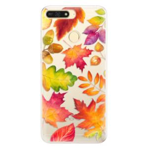 Silikonové pouzdro iSaprio (mléčně zakalené) Podzimní Lístečky na mobil Honor 7A