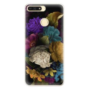 Silikonové pouzdro iSaprio (mléčně zakalené) Temné Květy na mobil Honor 7A