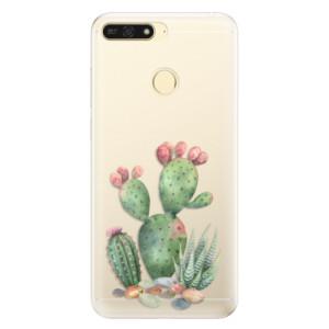 Silikonové pouzdro iSaprio (mléčně zakalené) Kaktusy 01 na mobil Honor 7A