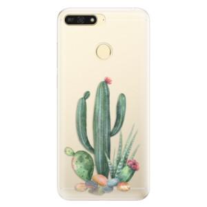 Silikonové pouzdro iSaprio (mléčně zakalené) Kaktusy 02 na mobil Honor 7A