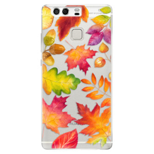 Silikonové pouzdro iSaprio (mléčně zakalené) Podzimní Lístečky na mobil Huawei P9