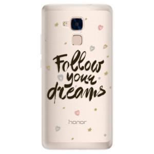 Silikonové pouzdro iSaprio (mléčně zakalené) Follow Your Dreams černý na mobil Honor 7 Lite