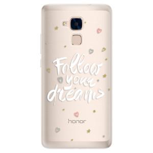 Silikonové pouzdro iSaprio (mléčně zakalené) Follow Your Dreams bílý na mobil Honor 7 Lite