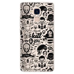 Silikonové pouzdro iSaprio (mléčně zakalené) Komiks 01 black na mobil Honor 7 Lite