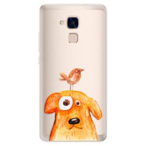 Silikonové pouzdro iSaprio (mléčně zakalené) Pejsek a Ptáček na mobil Honor 7 Lite