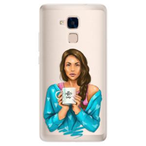 Silikonové pouzdro iSaprio (mléčně zakalené) Coffee Now Brunetka na mobil Honor 7 Lite