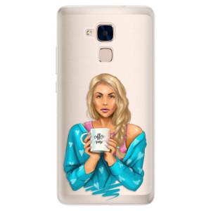 Silikonové pouzdro iSaprio (mléčně zakalené) Coffee Now Blondýna na mobil Honor 7 Lite