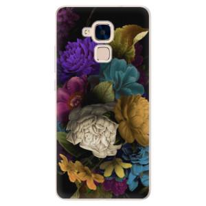 Silikonové pouzdro iSaprio (mléčně zakalené) Temné Květy na mobil Honor 7 Lite