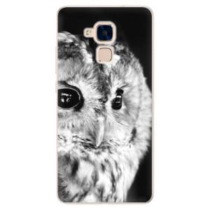Silikonové pouzdro iSaprio (mléčně zakalené) BW Sova na mobil Honor 7 Lite