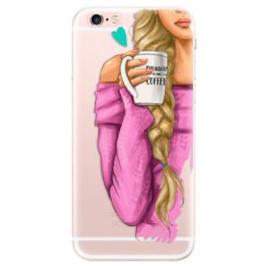 Silikonové pouzdro iSaprio (mléčně zakalené) Blondýnka s kafčem na mobil Apple iPhone 6 Plus/6S Plus
