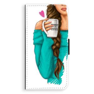 Flipové pouzdro iSaprio Brunetka s kafčem na mobil Samsung Galaxy J6