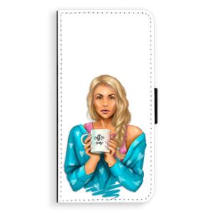 Flipové pouzdro iSaprio Coffee Now Blondýna na mobil Samsung Galaxy J6