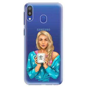 Plastové pouzdro iSaprio Coffee Now Blondýna na mobil Samsung Galaxy M20