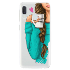 Plastové pouzdro iSaprio Brunetka s kafčem na mobil Samsung Galaxy A20e