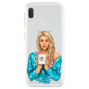 Plastové pouzdro iSaprio Coffee Now Blondýna na mobil Samsung Galaxy A20e
