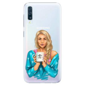 Plastové pouzdro iSaprio Coffee Now Blondýna na mobil Samsung Galaxy A50