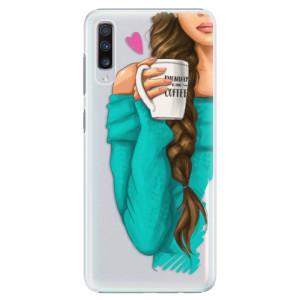 Plastové pouzdro iSaprio Brunetka s kafčem na mobil Samsung Galaxy A70