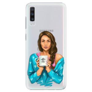 Plastové pouzdro iSaprio Coffee Now Brunetka na mobil Samsung Galaxy A70