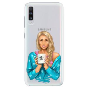Plastové pouzdro iSaprio Coffee Now Blondýna na mobil Samsung Galaxy A70