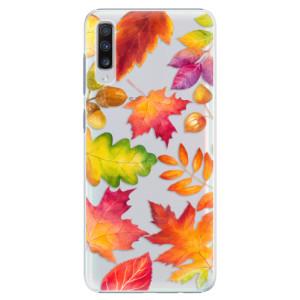 Plastové pouzdro iSaprio Podzimní Lístečky na mobil Samsung Galaxy A70