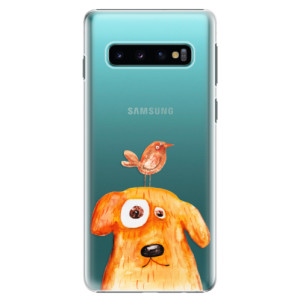Plastové pouzdro iSaprio Pejsek a Ptáček na mobil Samsung Galaxy S10