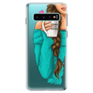 Plastové pouzdro iSaprio Brunetka s kafčem na mobil Samsung Galaxy S10