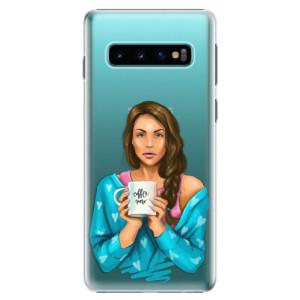 Plastové pouzdro iSaprio Coffee Now Brunetka na mobil Samsung Galaxy S10