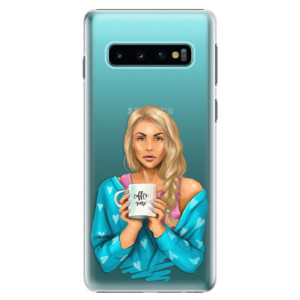 Plastové pouzdro iSaprio Coffee Now Blondýna na mobil Samsung Galaxy S10