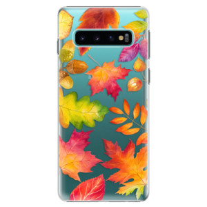Plastové pouzdro iSaprio Podzimní Lístečky na mobil Samsung Galaxy S10