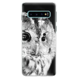 Plastové pouzdro iSaprio BW Sova na mobil Samsung Galaxy S10