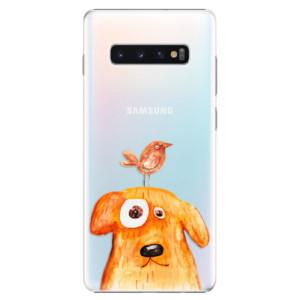 Plastové pouzdro iSaprio Pejsek a Ptáček na mobil Samsung Galaxy S10 Plus