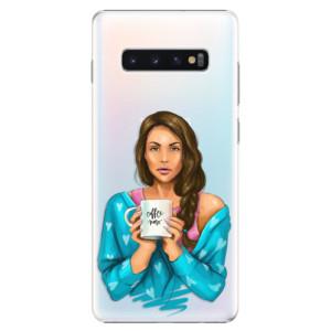 Plastové pouzdro iSaprio Coffee Now Brunetka na mobil Samsung Galaxy S10 Plus
