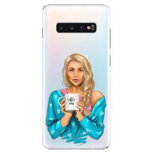 Plastové pouzdro iSaprio Coffee Now Blondýna na mobil Samsung Galaxy S10 Plus