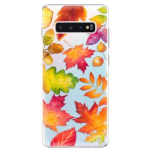 Plastové pouzdro iSaprio Podzimní Lístečky na mobil Samsung Galaxy S10 Plus