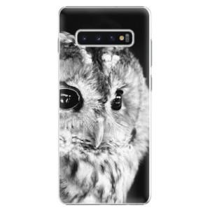 Plastové pouzdro iSaprio BW Sova na mobil Samsung Galaxy S10 Plus