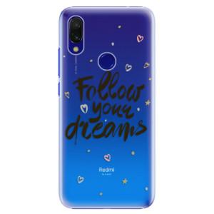 Plastové pouzdro iSaprio Follow Your Dreams černý na mobil Xiaomi Redmi 7
