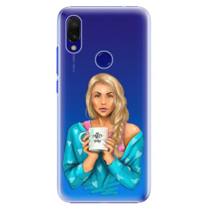 Plastové pouzdro iSaprio Coffee Now Blondýna na mobil Xiaomi Redmi 7