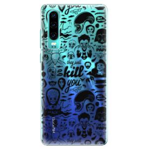 Plastové pouzdro iSaprio Komiks 01 black na mobil Huawei P30