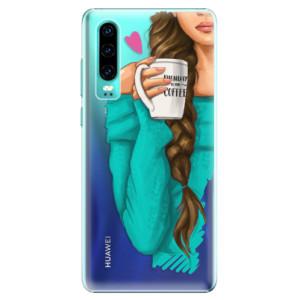 Plastové pouzdro iSaprio Brunetka s kafčem na mobil Huawei P30