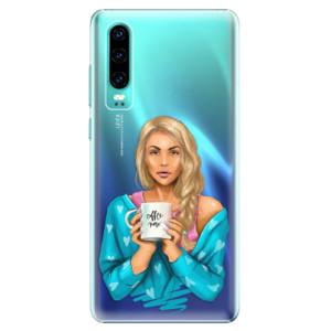 Plastové pouzdro iSaprio Coffee Now Blondýna na mobil Huawei P30