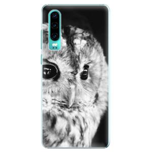 Plastové pouzdro iSaprio BW Sova na mobil Huawei P30