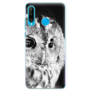 Plastové pouzdro iSaprio BW Sova na mobil Huawei P30 Lite
