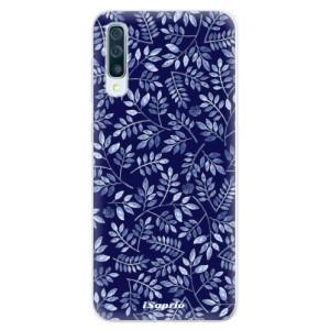 Silikonové pouzdro iSaprio (mléčně zakalené) Blue Leaves 05 na mobil Samsung Galaxy A50