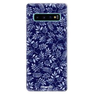 Silikonové odolné pouzdro iSaprio Blue Leaves 05 na mobil Samsung Galaxy S10
